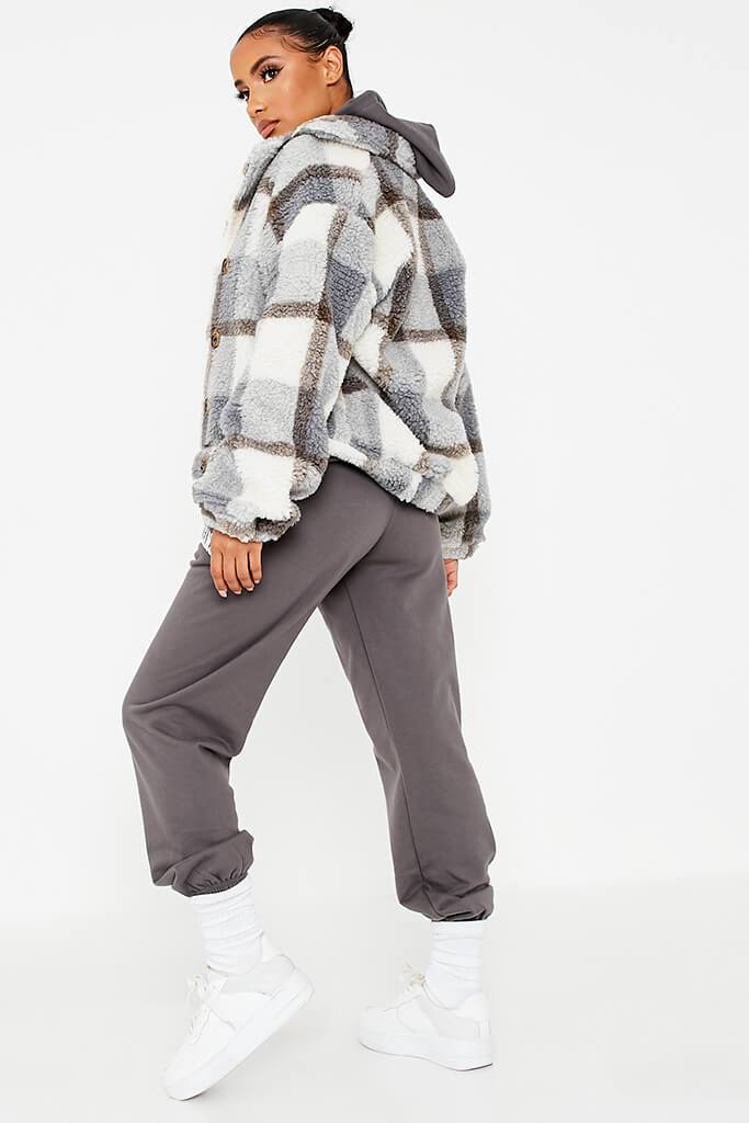 Grey Check Borg Short Shacket view 4