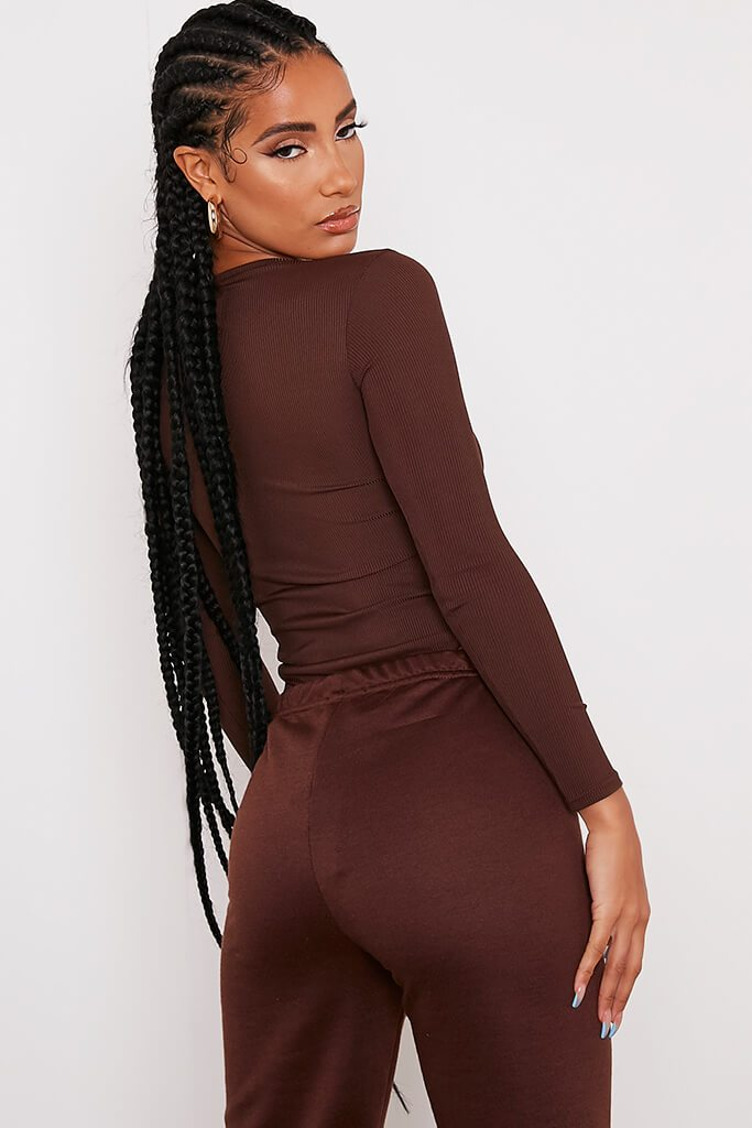 Chocolate Ribbed Long Sleeve Bodysuit view 5