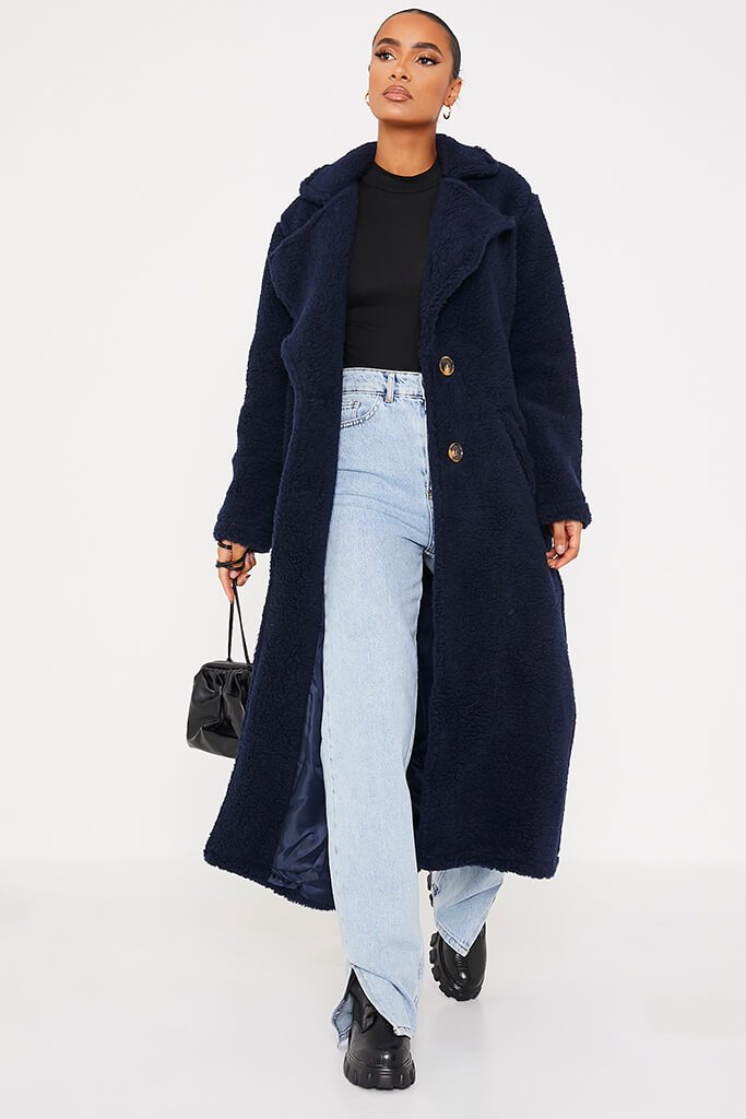 Navy Borg Long Line Coat