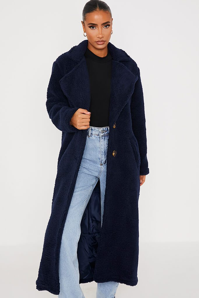 Navy Borg Long Line Coat view 2
