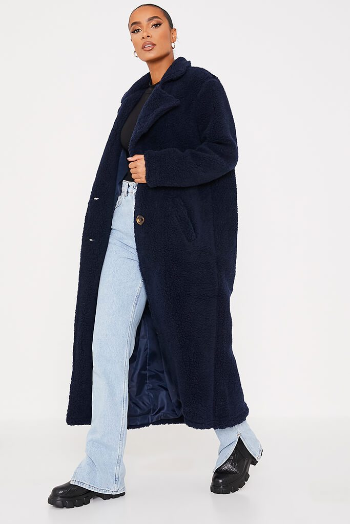 Navy Borg Long Line Coat view 3