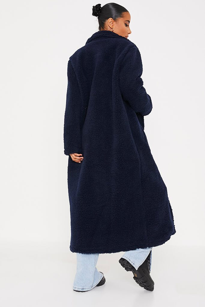Navy Borg Long Line Coat view 4