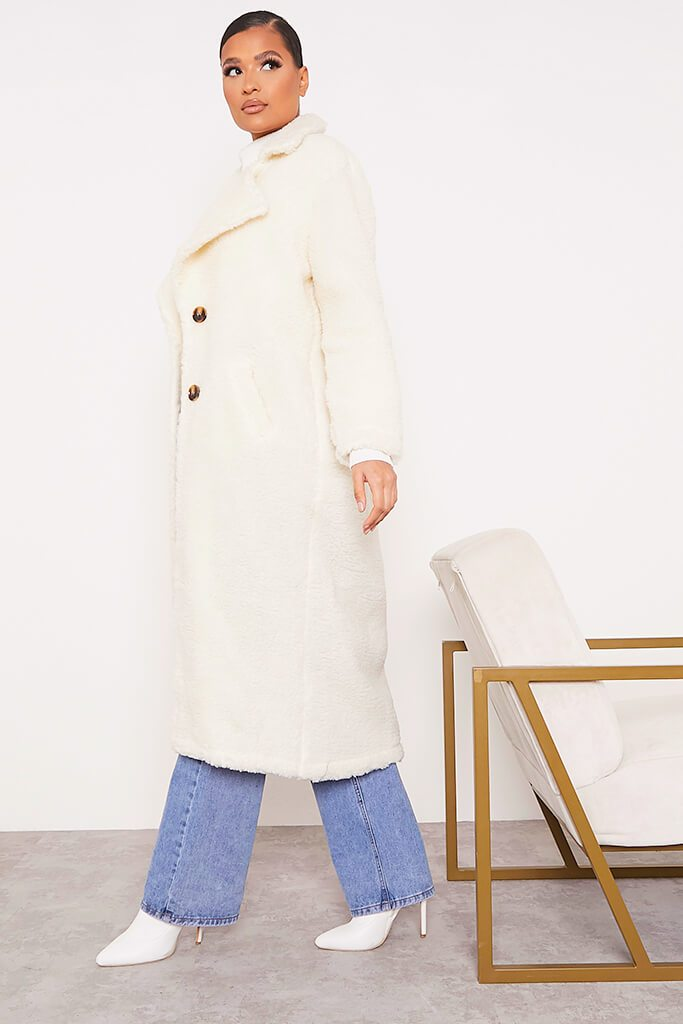 Cream Borg Long Line Coat view 3