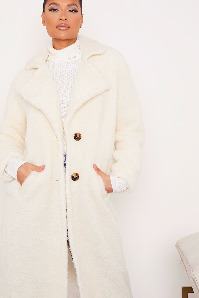 Cream Borg Long Line Coat view 5
