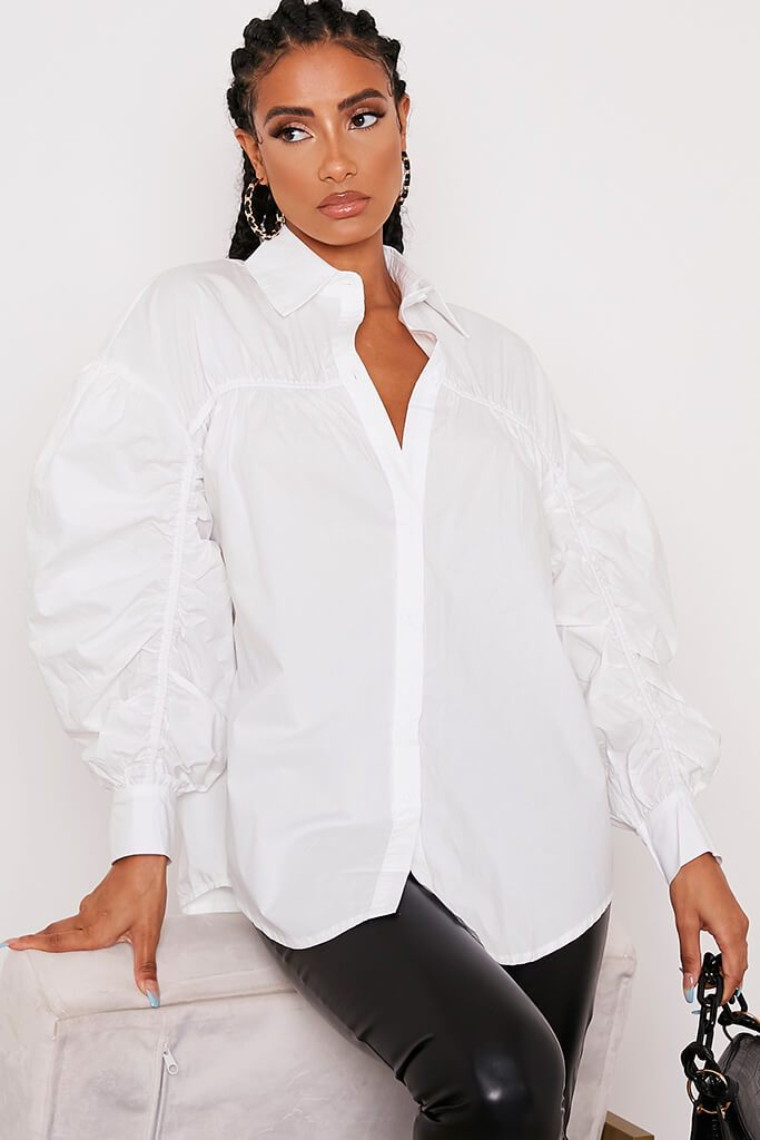 White Poplin Ruched Sleeve Shirt view 5