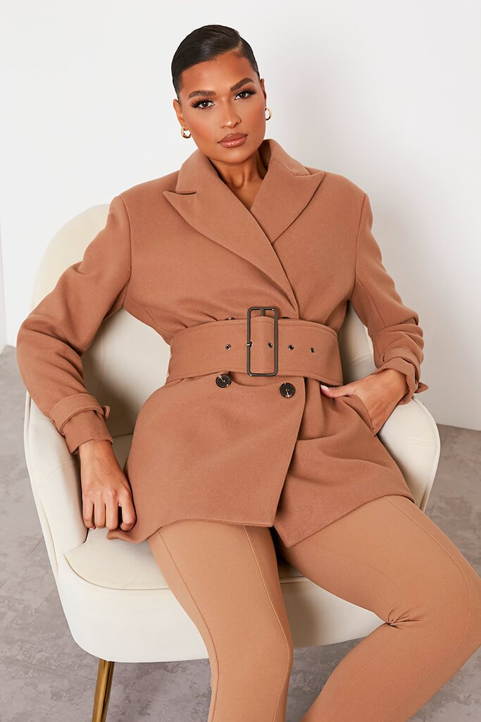 Stone Shoulder Pad Belted Short Coat view main view
