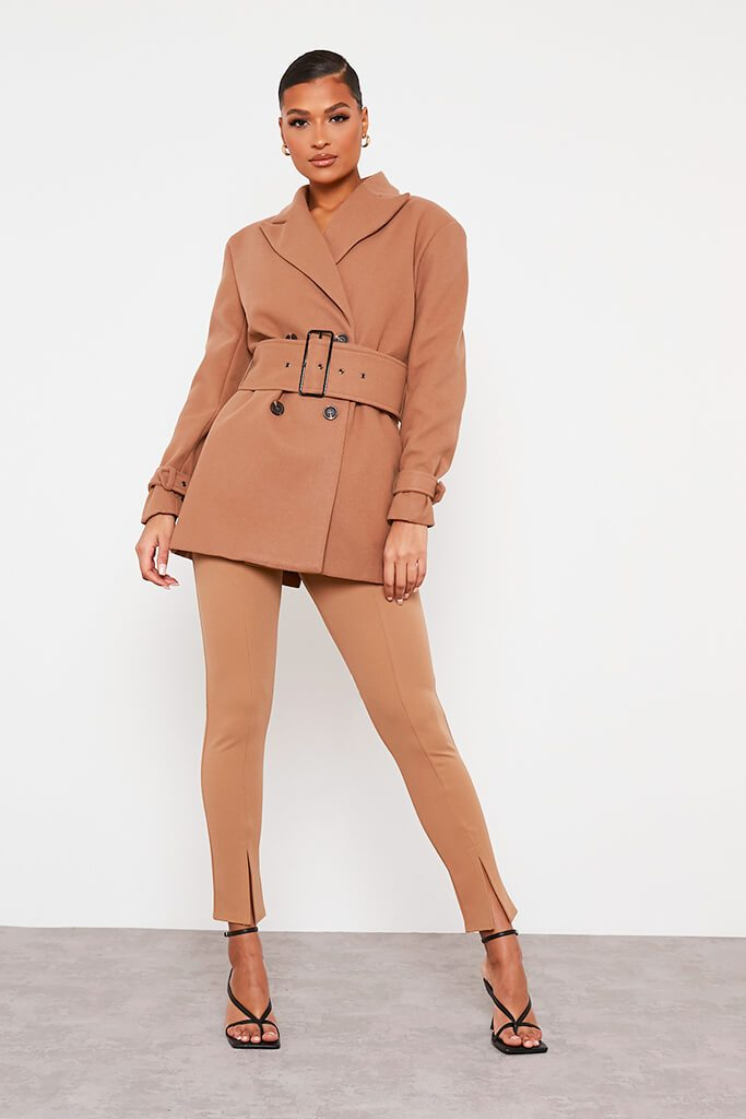 Stone Shoulder Pad Belted Short Coat view 2
