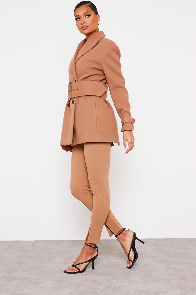 Stone Shoulder Pad Belted Short Coat view 3