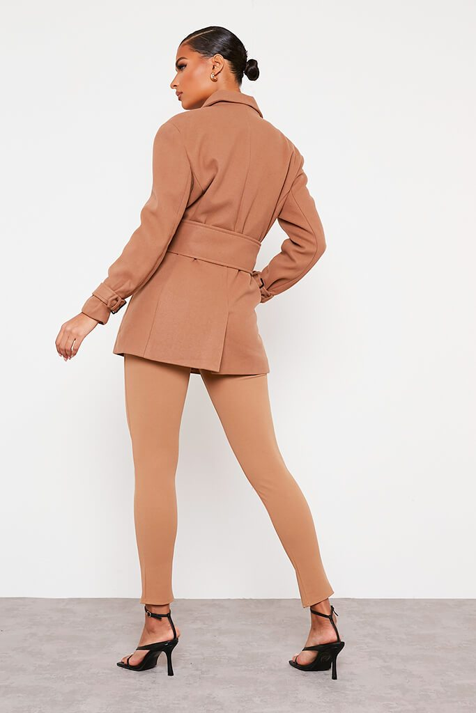 Stone Shoulder Pad Belted Short Coat view 4