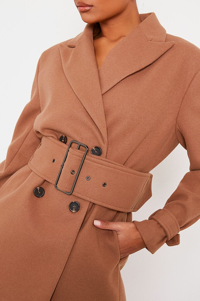 Stone Shoulder Pad Belted Short Coat view 5