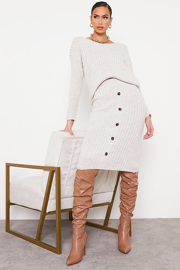 Beige Knitted V Neck Midi Skirt Set view 2