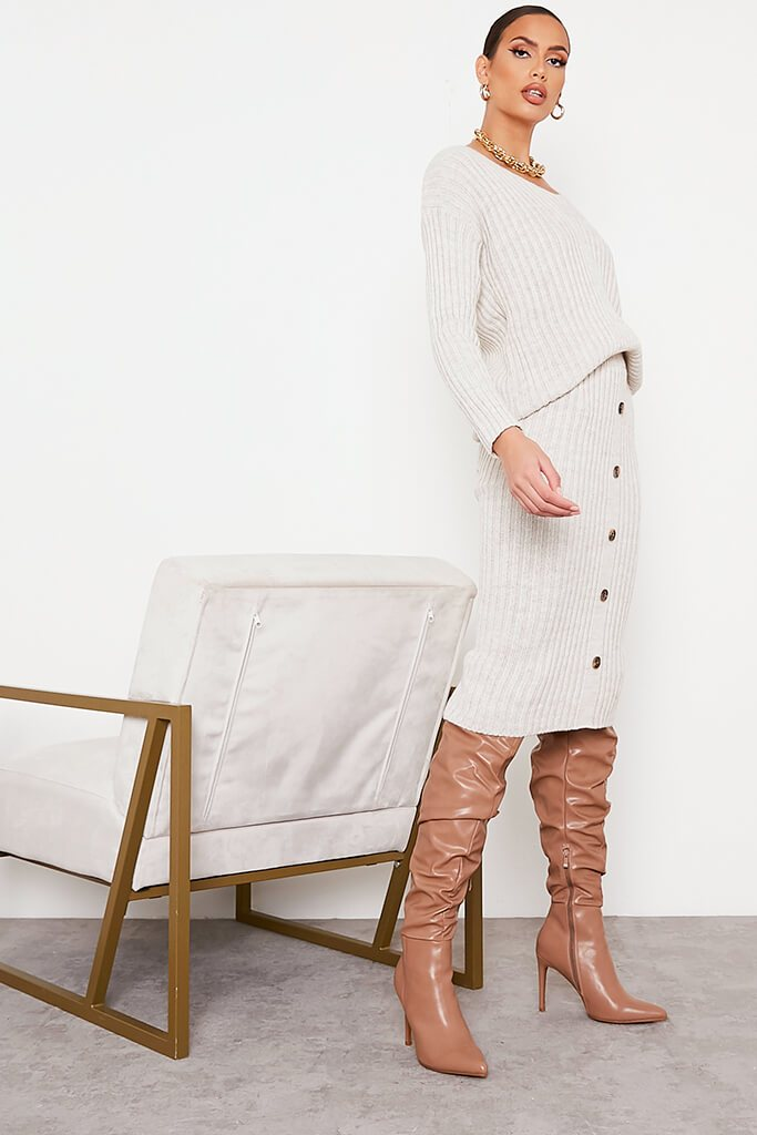 Beige Knitted V Neck Midi Skirt Set view 3