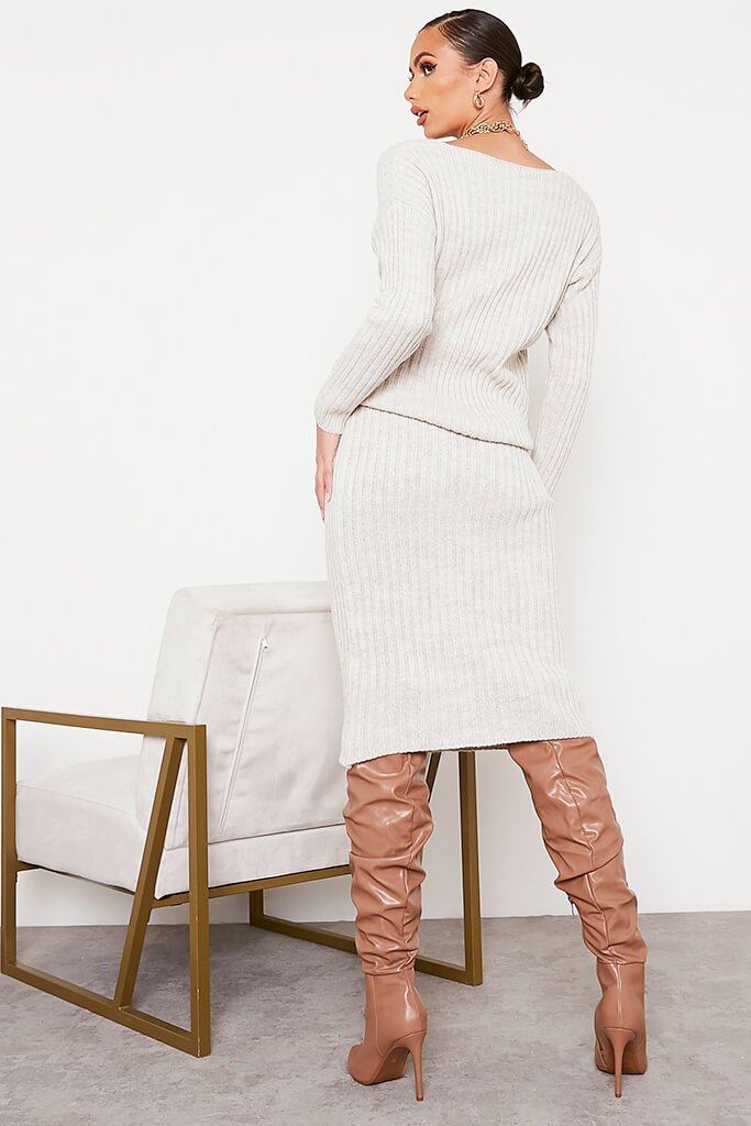 Beige Knitted V Neck Midi Skirt Set view 4