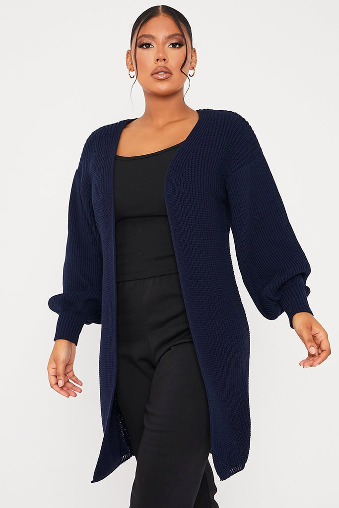 Navy Balloon Sleeve Knitted Cardigan