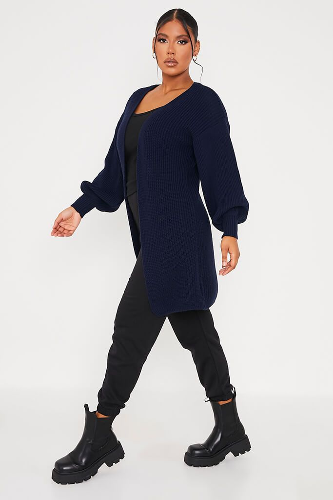 Navy Balloon Sleeve Knitted Cardigan view 3