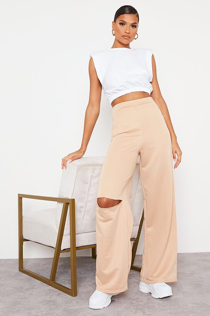 Camel Wide Leg Slashed Joggers