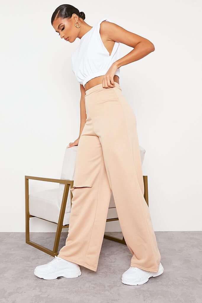 Camel Wide Leg Slashed Joggers view 3