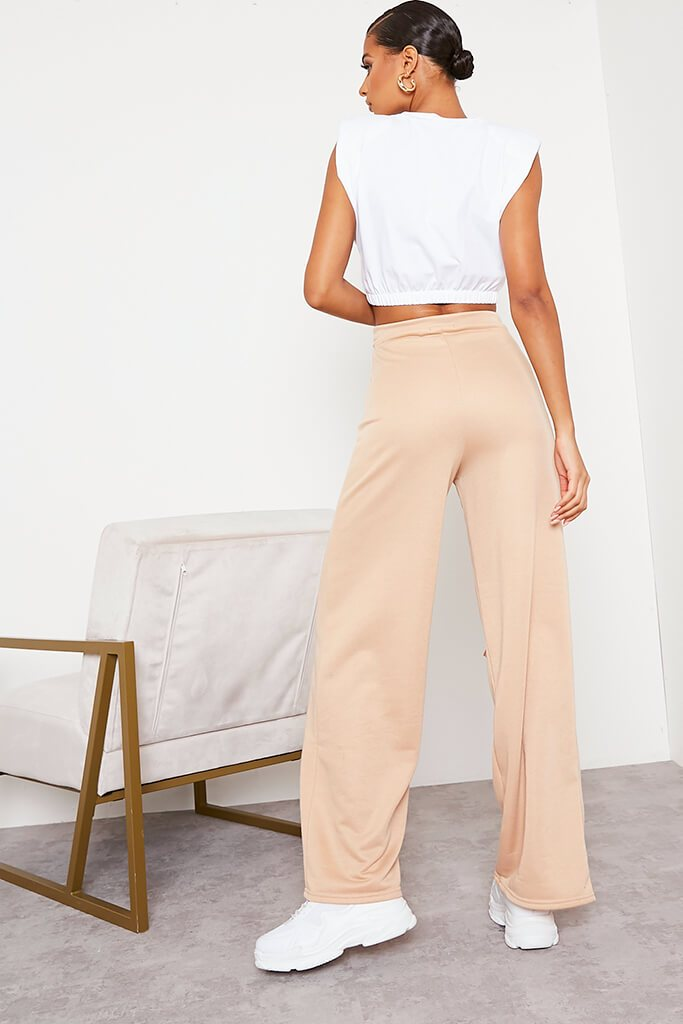Camel Wide Leg Slashed Joggers view 4