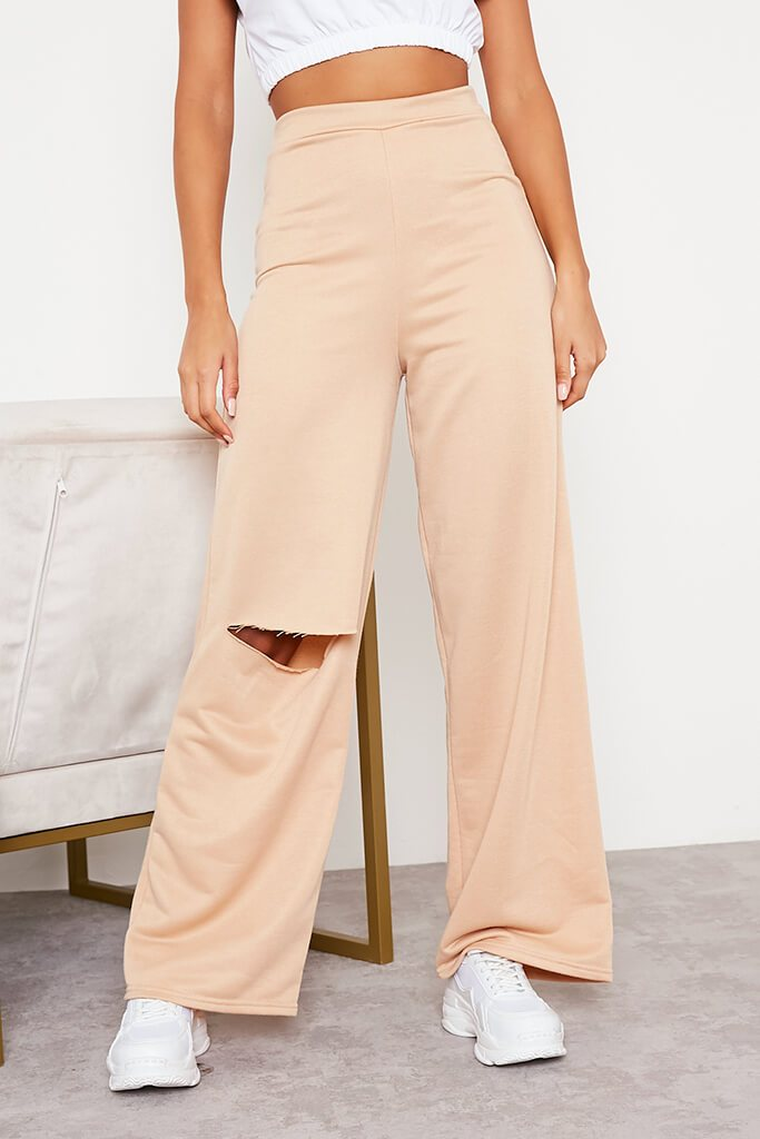 Camel Wide Leg Slashed Joggers view 2