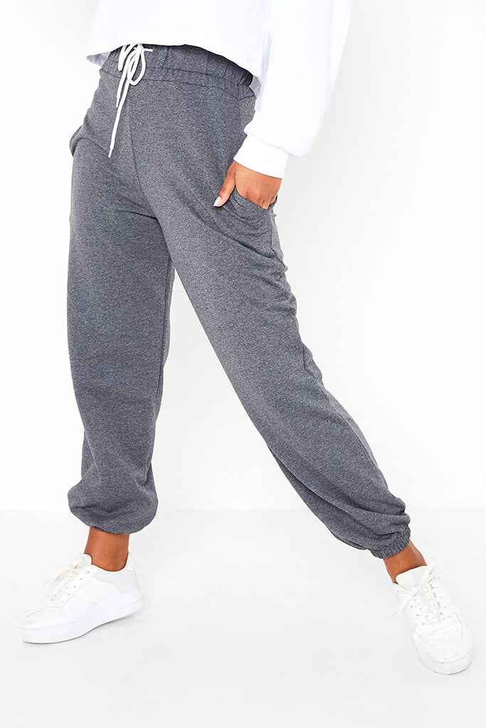 Charcoal High Waist Band Basic Joggers view 2