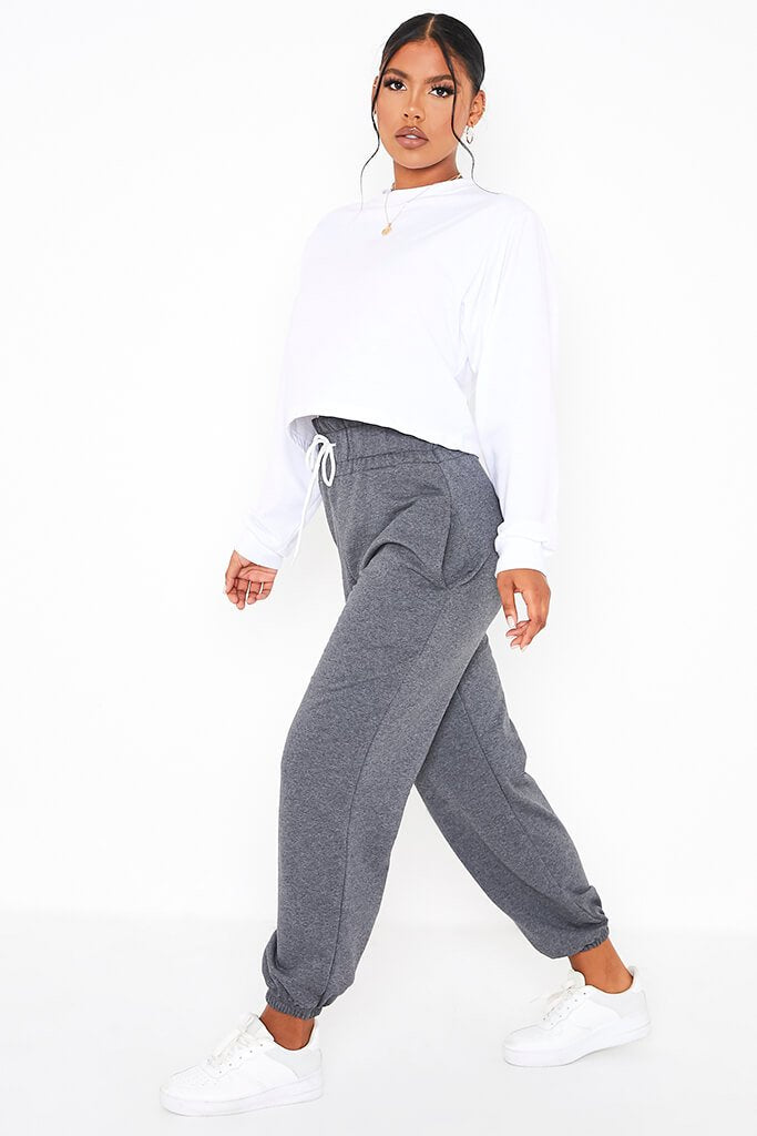 Charcoal High Waist Band Basic Joggers view 3