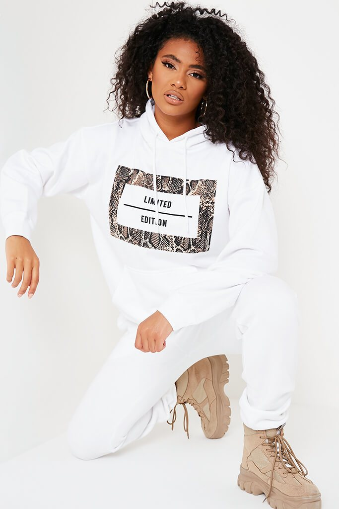 White Limited Edition Slogan Print Oversized Hoodie
