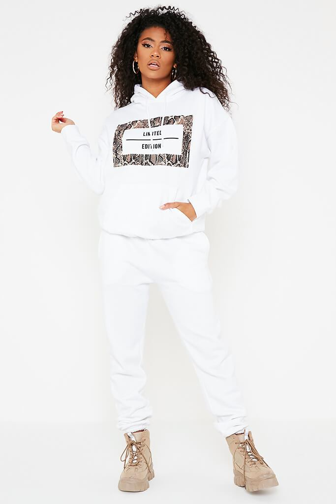 White Limited Edition Slogan Print Oversized Hoodie view 2