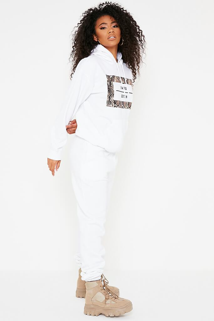 White Limited Edition Slogan Print Oversized Hoodie view 3