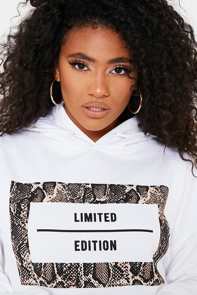 White Limited Edition Slogan Print Oversized Hoodie view 5