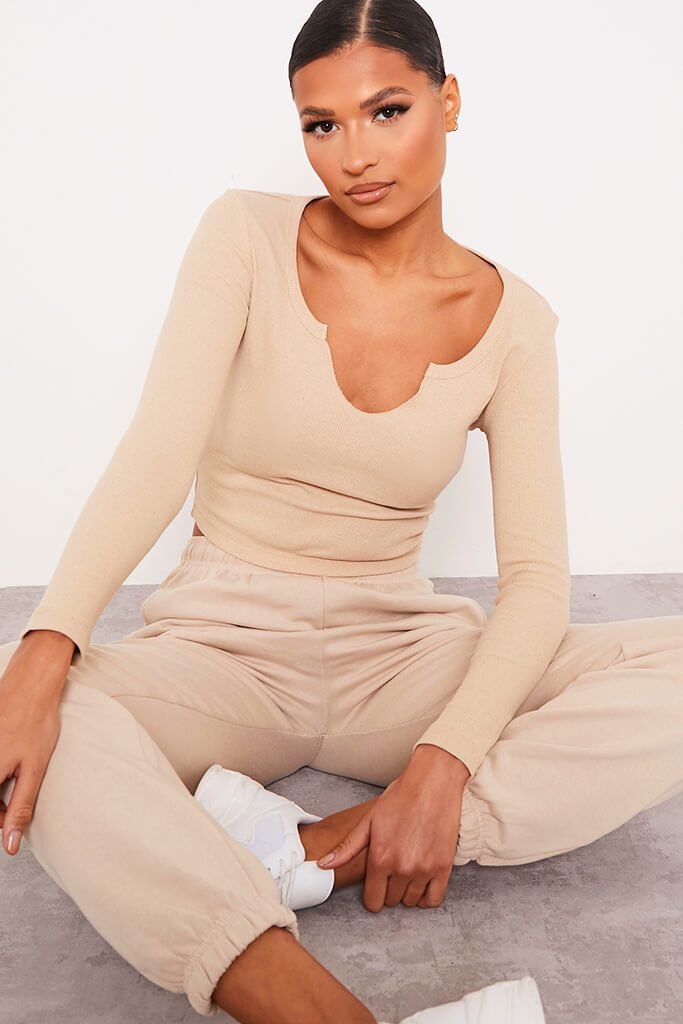 Stone Notch Front Long Sleeved Rib Crop Top