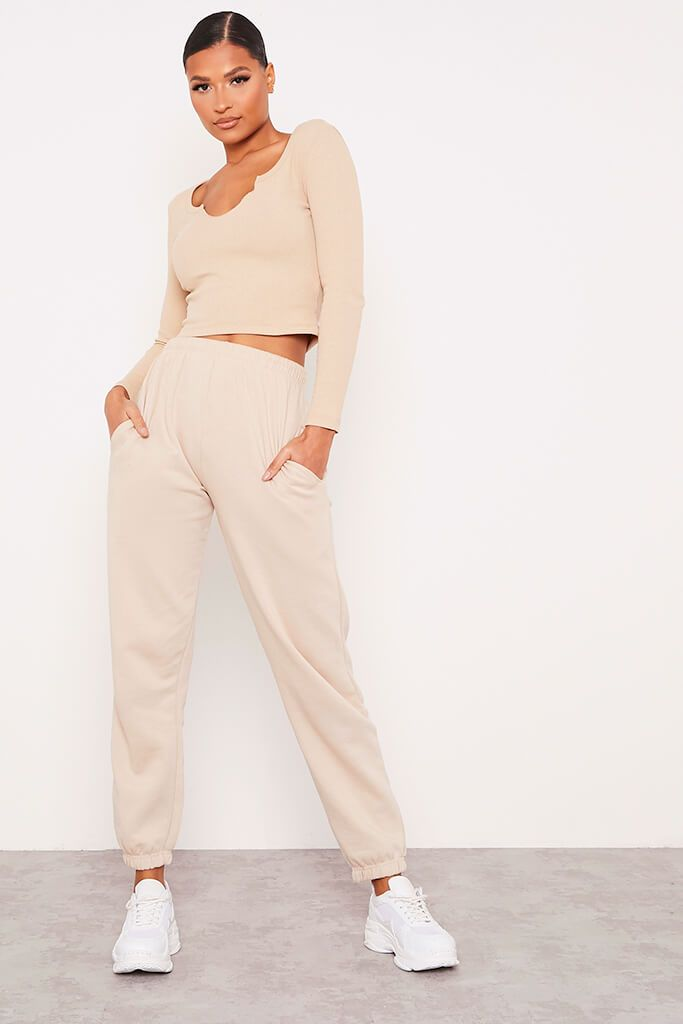 Stone Notch Front Long Sleeved Rib Crop Top view 2