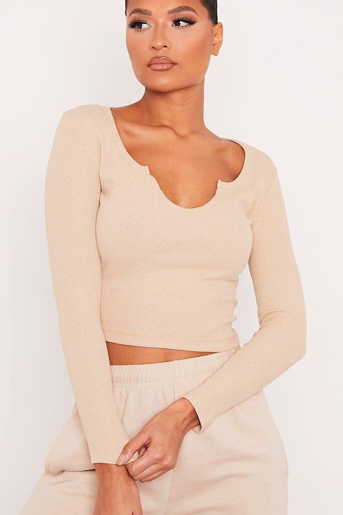 Stone Notch Front Long Sleeved Rib Crop Top view 5