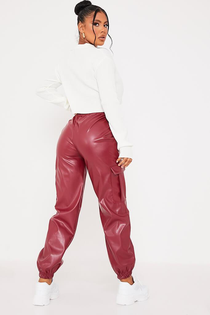 Red Faux Leather Cargo Joggers view 3