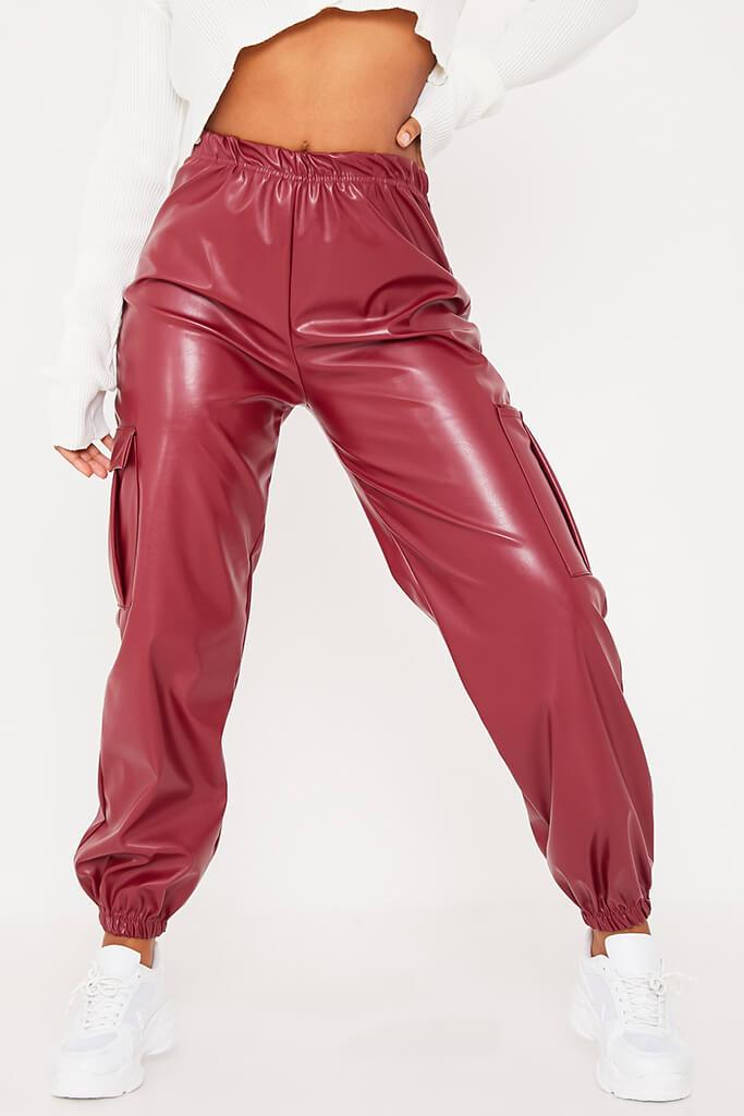 Red Faux Leather Cargo Joggers view 4