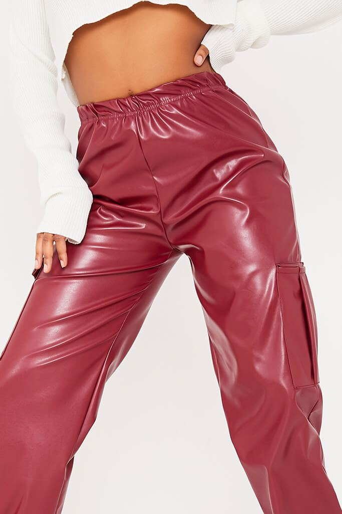 Red Faux Leather Cargo Joggers view 5