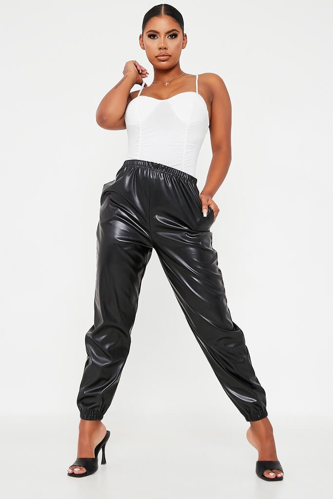 Black Faux Leather Jogger view main view