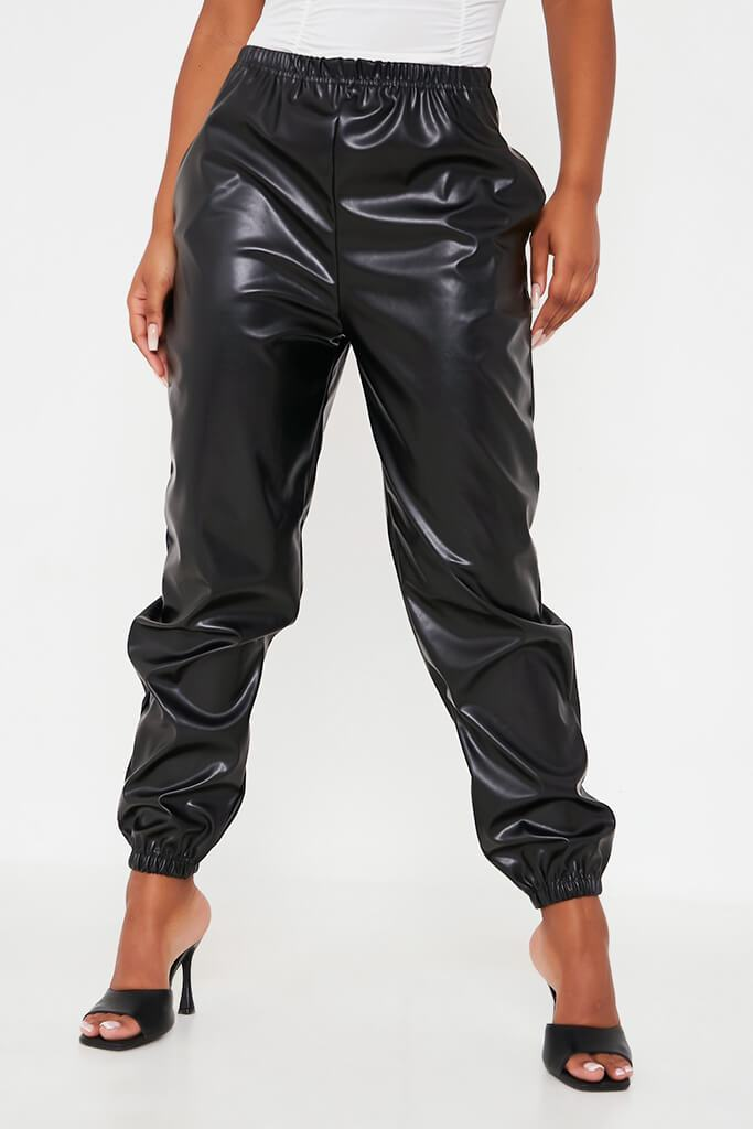 Black Faux Leather Jogger view 4
