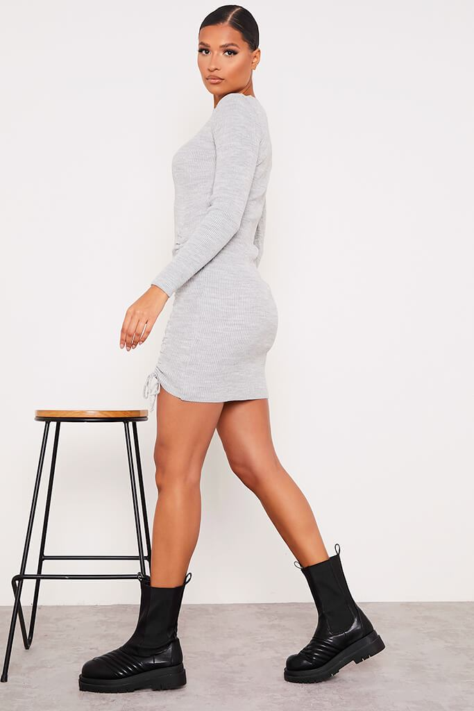 Grey Knitted Mini Dress With Ruched Tie Sides view 3