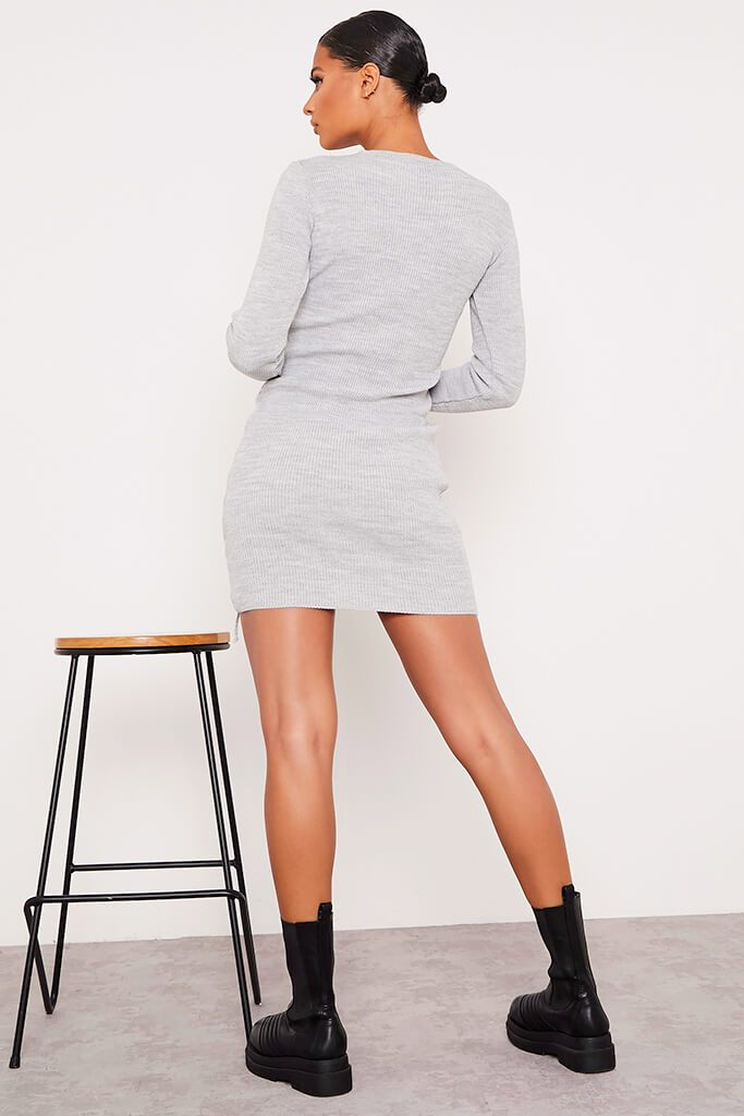 Grey Knitted Mini Dress With Ruched Tie Sides view 4