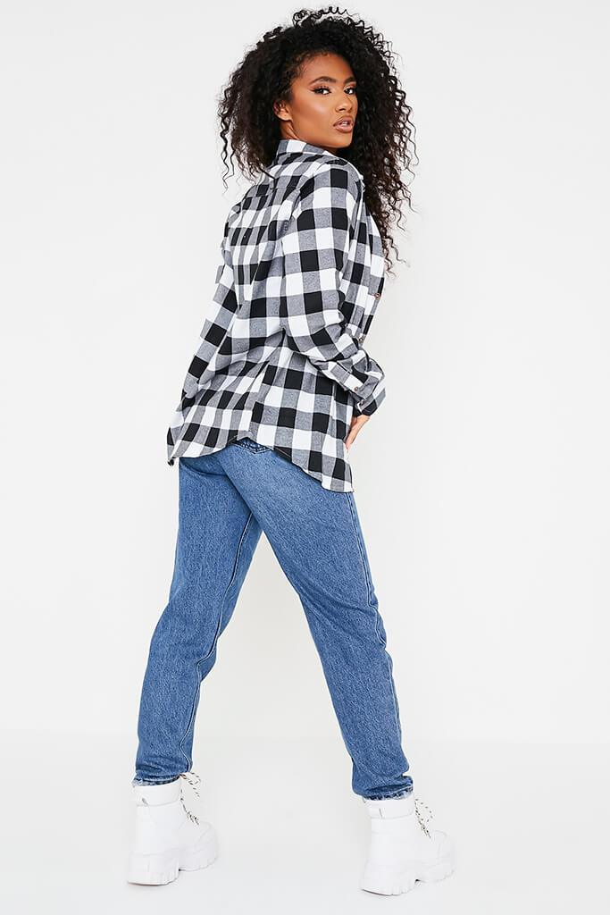 Black Brushed Long Sleeve Oversized Checked Shirt view 4