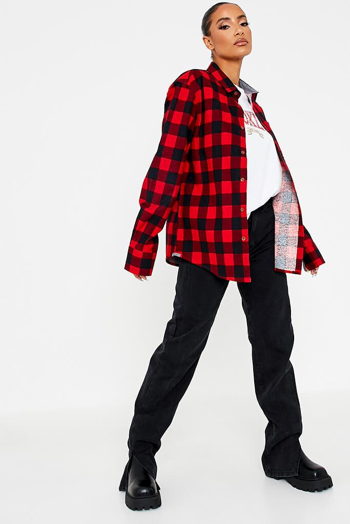 Red Brushed Long Sleeve Oversized Checked Shirt view 3