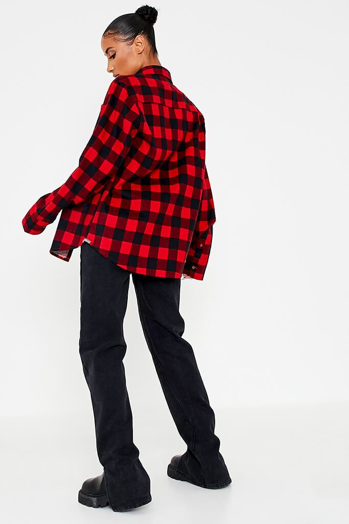 Red Brushed Long Sleeve Oversized Checked Shirt view 4