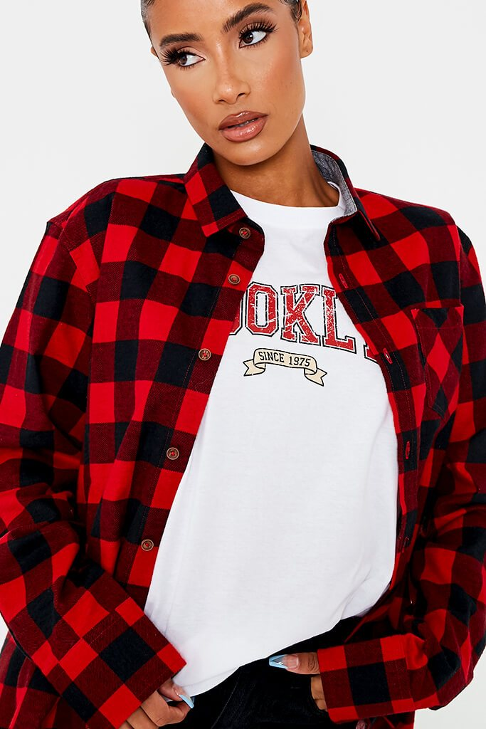 Red Brushed Long Sleeve Oversized Checked Shirt view 5