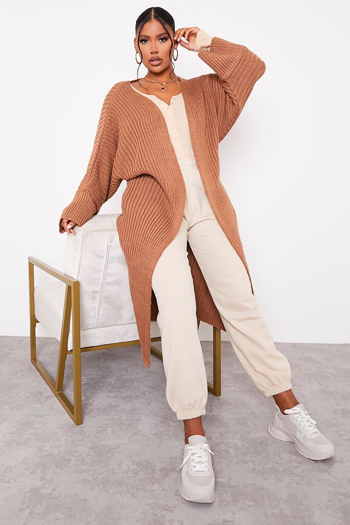 Mocha Wide Sleeve Knitted Maxi Cardigan view main view