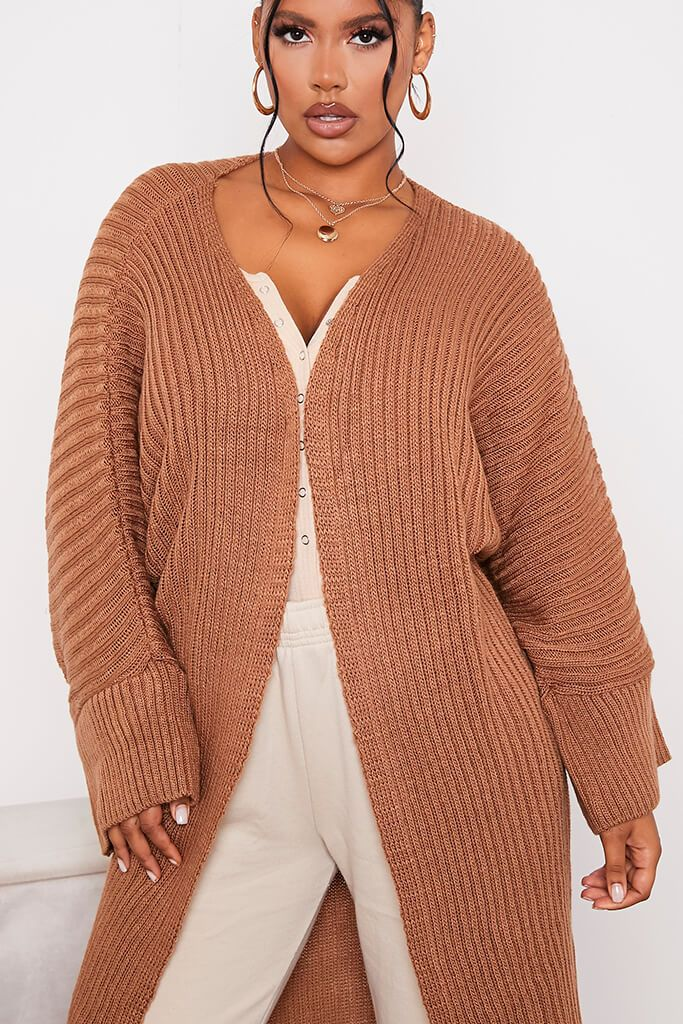 Mocha Wide Sleeve Knitted Maxi Cardigan view 5