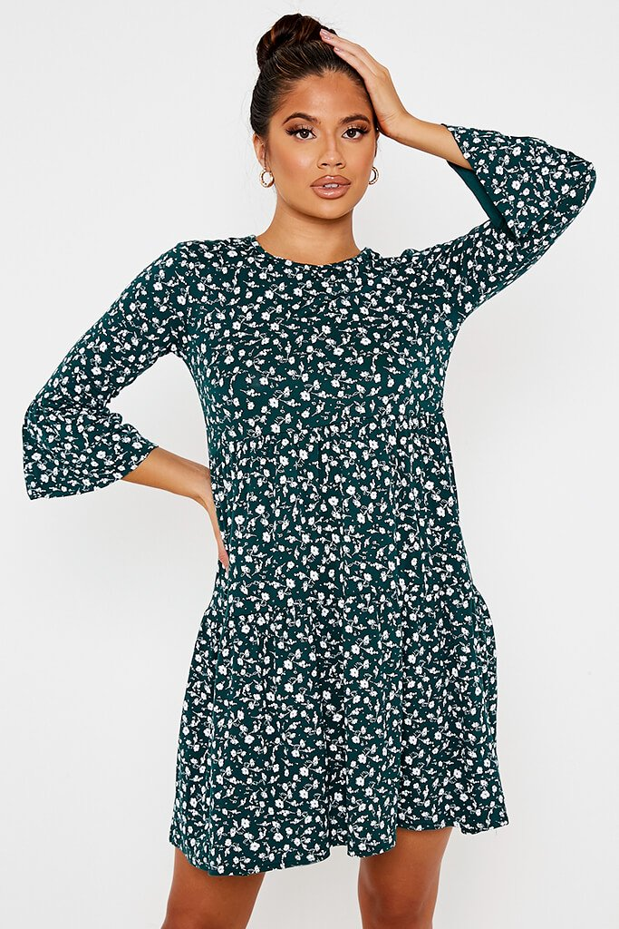 Emerald Green Jersey Floral Tiered Hem Smock Dress