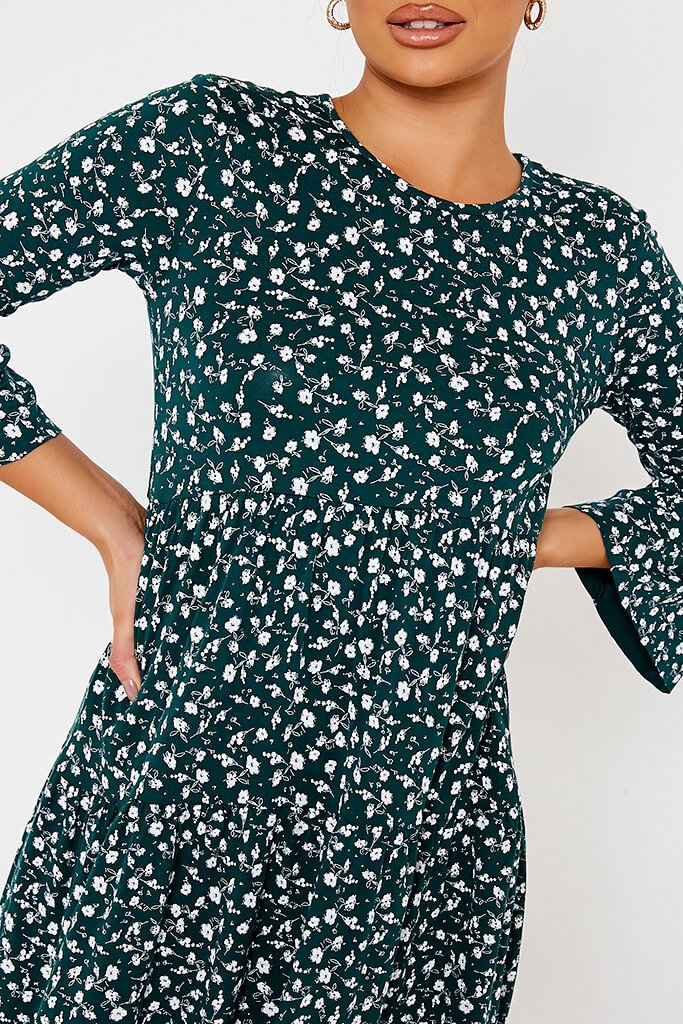 Emerald Green Jersey Floral Tiered Hem Smock Dress view 5