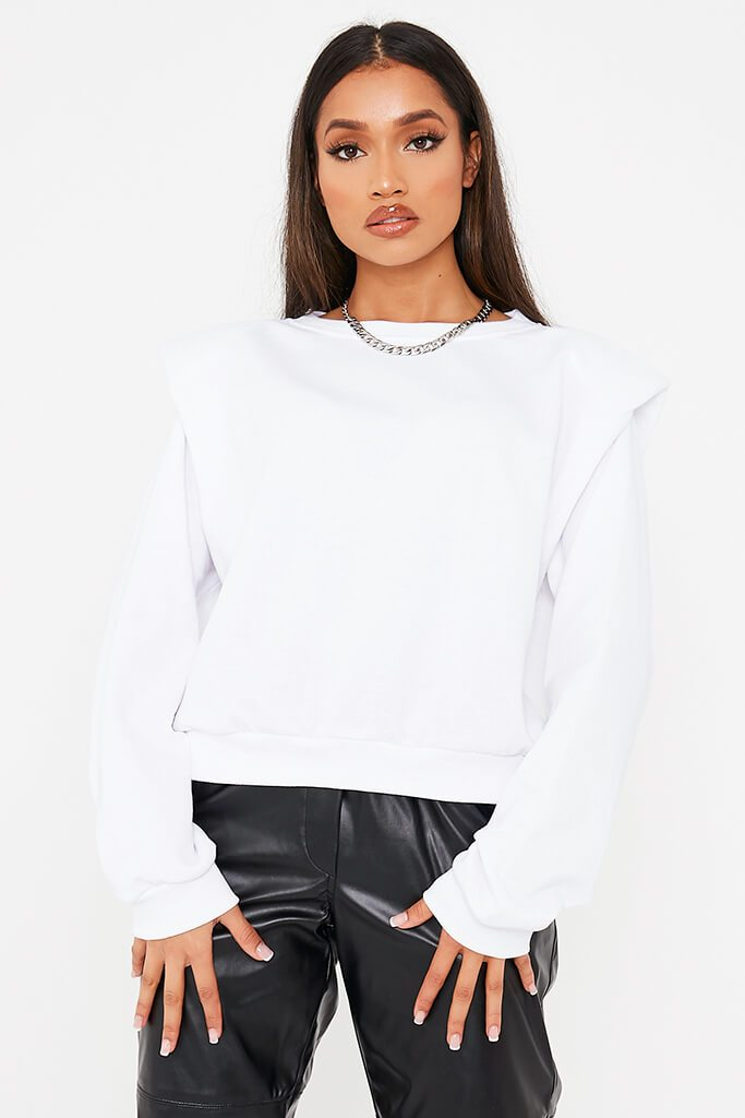 White Inverted Shoulder Padded Sweater