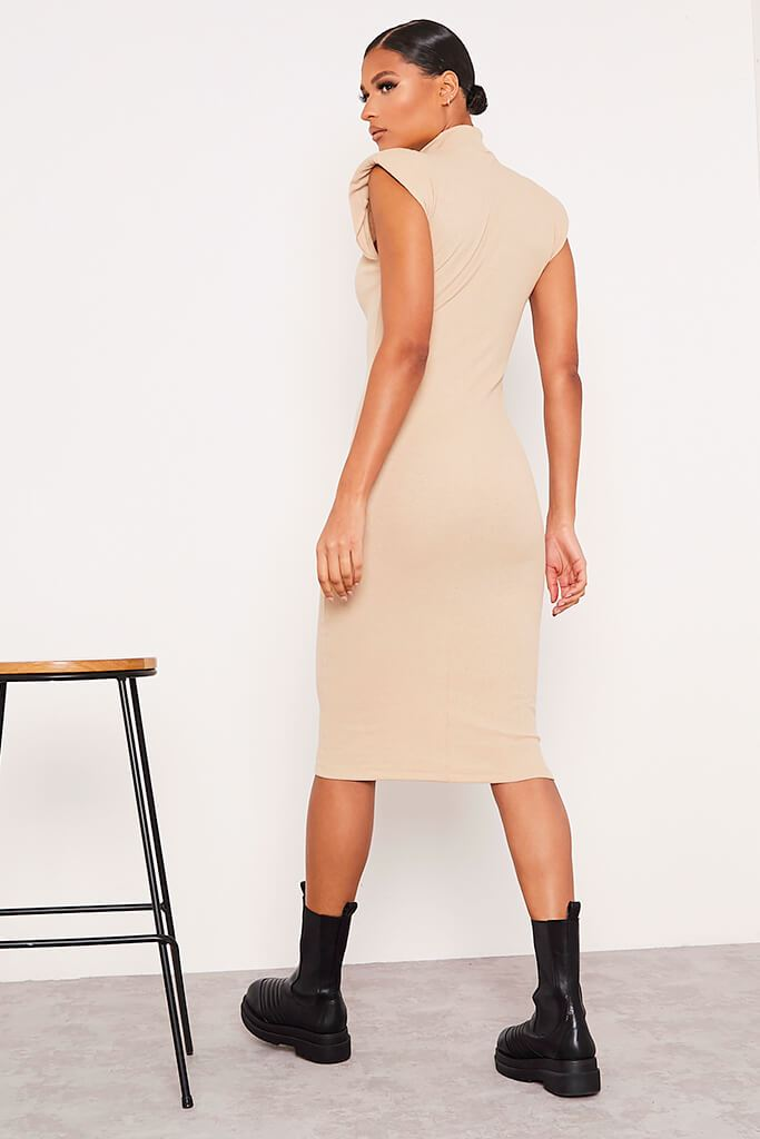 Stone Ribbed Shoulder Pad Sleeveless Midaxi Dress view 4