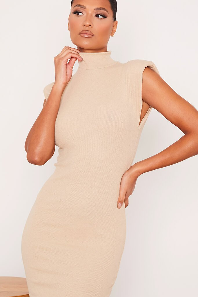 Stone Ribbed Shoulder Pad Sleeveless Midaxi Dress view 5